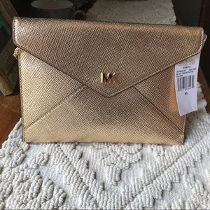 NWT Michael Kors Gold Envelope clutch handbag